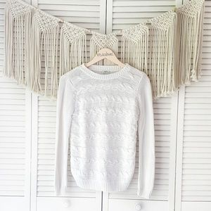 MADEWELL WALLACE White Cableknit Chunky Sweater S